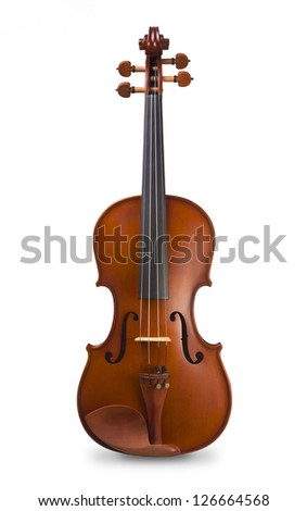 Classical shape wood vintage violin, Music instrument isolated on white background - stock photo