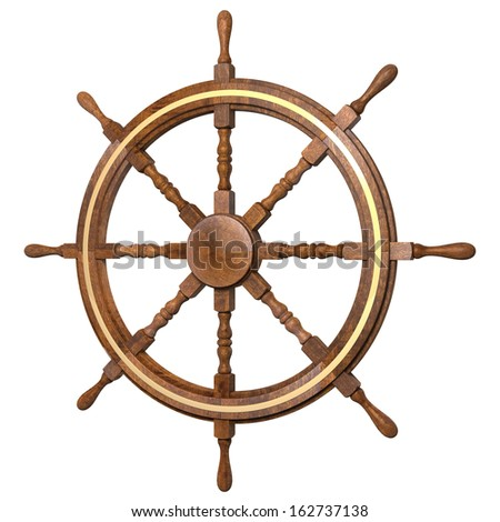 Classical ship steering wheel, 3d rendering isolated on white background