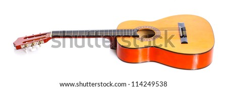 Classical Spanish guitar. Isolated on white background