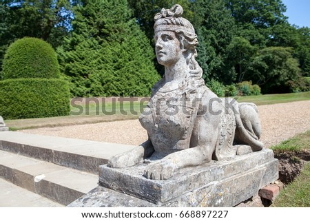 Classical Sphinx Statue. Woman Head With Lion Body. Ornamental Stone Garden  Statue.