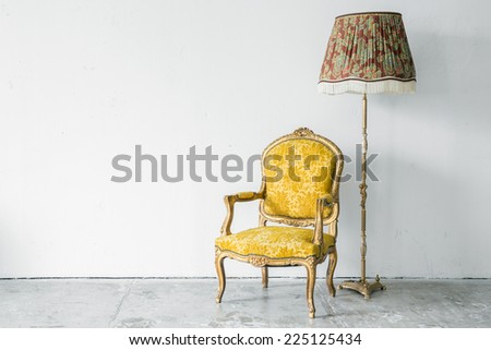 Classical style Armchair sofa with desk lamp - stock photo