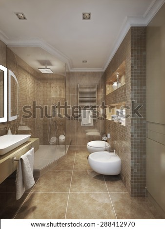 classical style bathroom. 3d visualization - stock photo