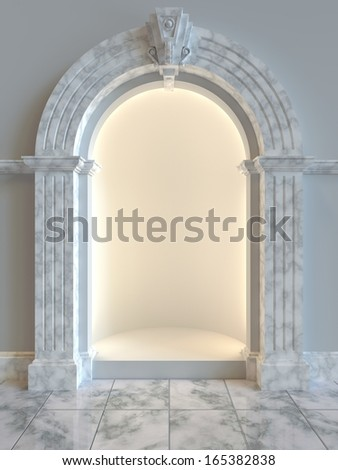 Classical style shop display alcove left empty for product display.  - stock photo