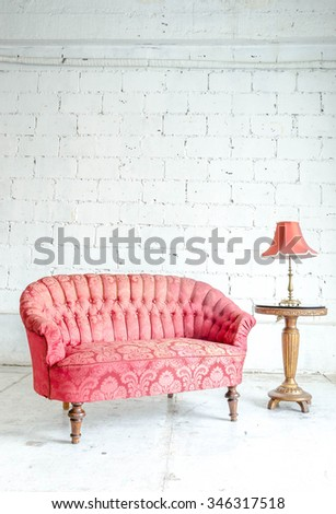 Classical style sofa couch in vintage room with dek - stock photo