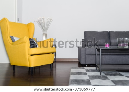 yellow chairs living room. Classical Style Yellow Armchair and Graceful Modern Gray Sofa Couch in  Vintage Room with Fashion Lamp Living Chair Stock Images Royalty Free Vectors