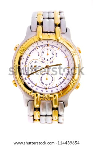 Classical swiss watch with chronograph, front view - stock photo
