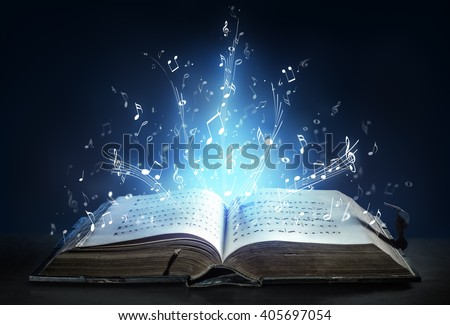 Classical Symphony Shines With Musical Notes From An Ancient Book Of Songs  - stock photo
