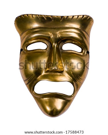 Classical theatrical gold tragedy mask over white - stock photo