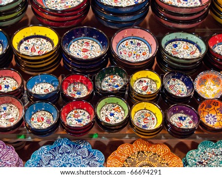 Classical Turkish ceramics on the Istanbul Grand Bazaar. - stock photo