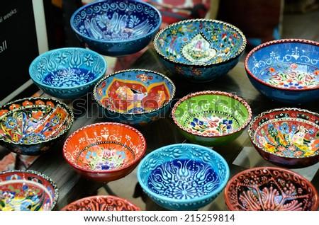 Classical Turkish ceramics on the market. - stock photo