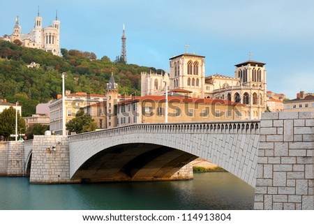 Classical view of Lyon over the Saone river. GPS information is in the file - stock photo