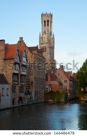 classical view of old Bruges with Belfort tower, Belgium