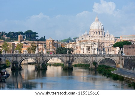 Classical view on Vatican over the Tiber river. - stock photo