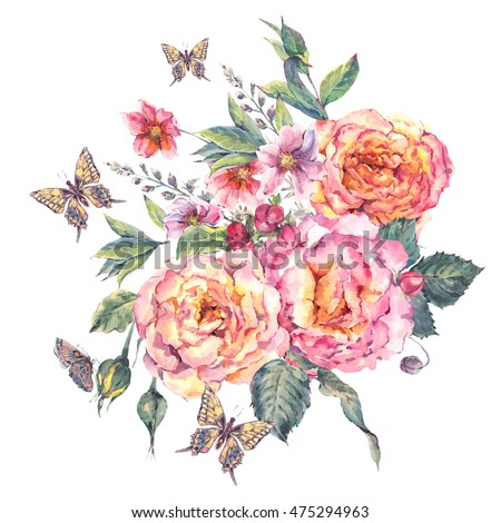 Classical vintage floral greeting card, watercolor blooming roses and butterflies, botanical natural watercolor illustration on white background