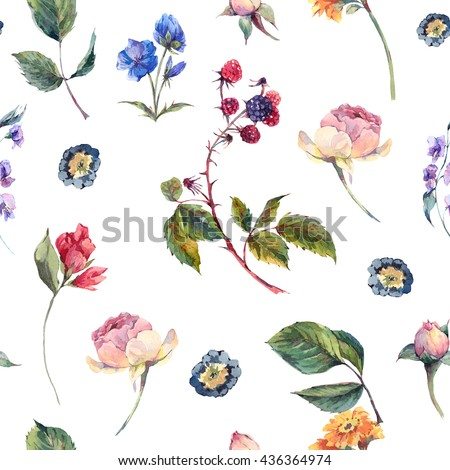 Classical vintage floral seamless pattern, watercolor bouquet of English roses and wildflowers, botanical natural watercolor illustration - stock photo