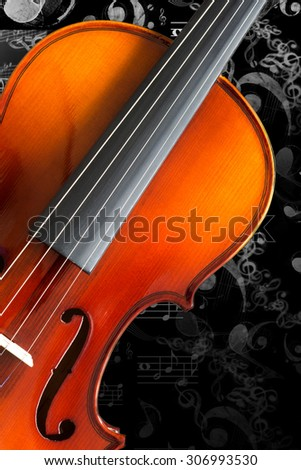 classical violin & floating music note isolated on black - stock photo