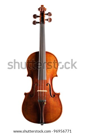 Classical violin - isolated (white background) - stock photo