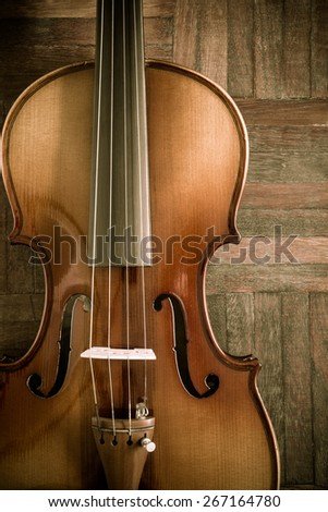 classical Violin on wooden floor for music composer concept background - stock photo