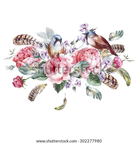 Classical watercolor floral vintage greeting card with rose birds nests and feathers , watercolor illustration