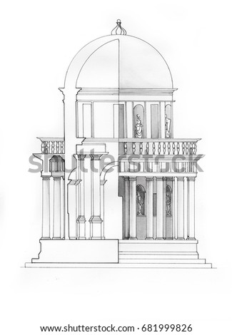 Classical watercolour drawing of antique architecture