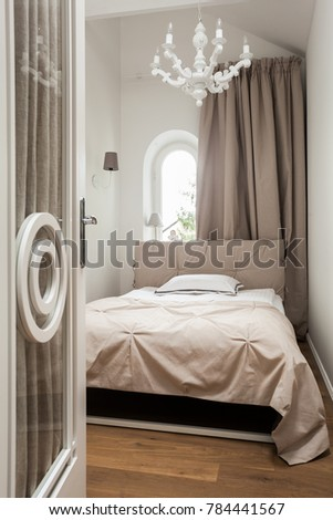 Classical white small bedroom interior