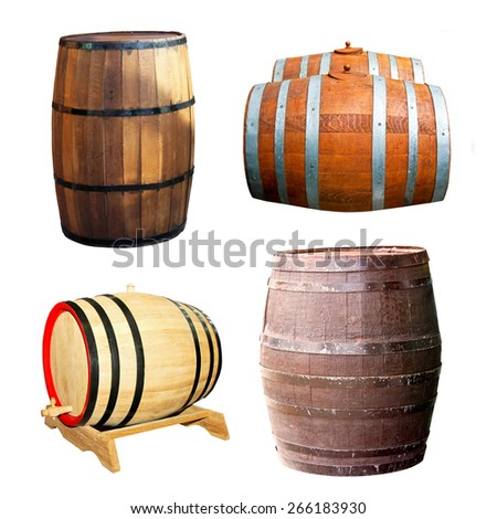 Classics old wooden barrels for beverage drinks - stock photo