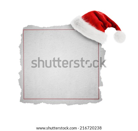 Classified Ad -Santa Claus hat hang on part of newspaper - stock photo