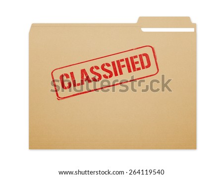 Classified brown folder file with paper showing with a lot of copy space. Isolated on a white background with clipping path. - stock photo