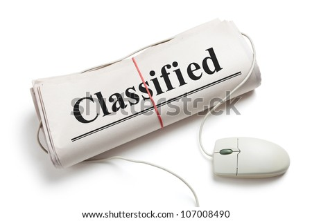 Classified, Computer mouse and Newspaper Roll with white background - stock photo