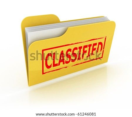 classified folder icon over the white - stock photo