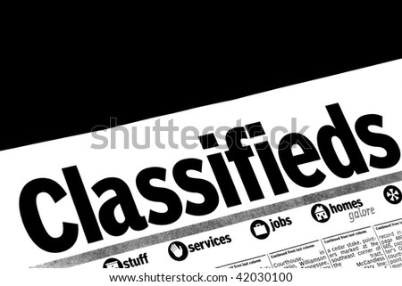 Classifieds section of newspaper - stock photo