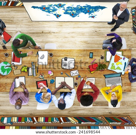 Classroom Aerial View People Learning Presentation World Map - stock photo