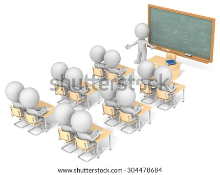 Classroom. Dude 3D characters X13 in classroom. Chalkboard with sample Mathematics. Top, side view. - stock photo