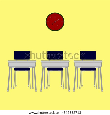 Classroom isolated on yellow background.