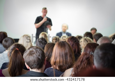 Classroom meeting at lecture at creative space. - stock photo