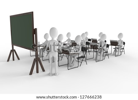 Classroom of students with teacher at the front - stock photo