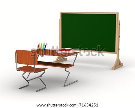 Classroom on white background. Isolated 3D image - stock photo