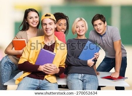 Classroom. Portrait of  smiling students together - stock photo