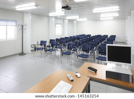 Classroom with interactive projection system nobody horizontal