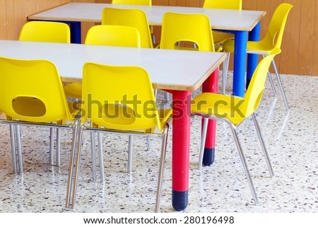 classroom with little chairs in the preschool - stock photo
