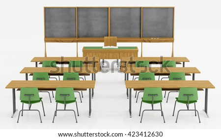Classroom without student with green chair, desk and blackboard -3d  rendering - stock photo