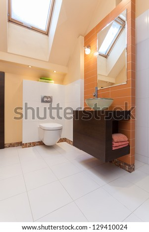 Classy house - interior of modern orange bathroom
