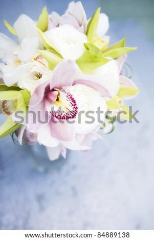 classy wedding bouquet  in vase - stock photo