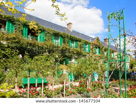 Claude Monet garden and house near Paris France - stock photo