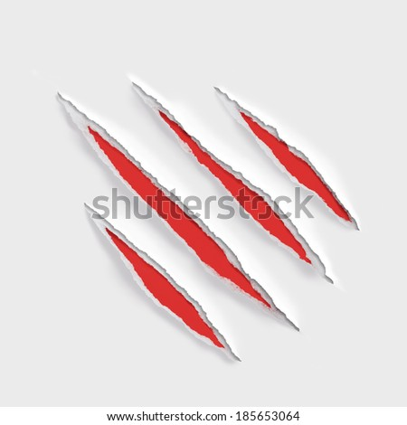 claw scratches marks on torn paper - stock photo