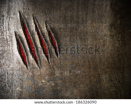 claw scratches on metal wall background - stock photo
