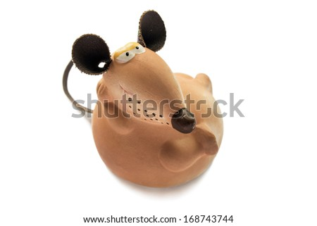 Clay brown rat with leather ears and tail on white background - stock photo