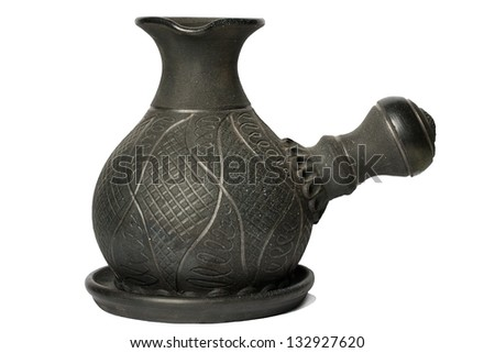 Clay coffee maker  on a white background