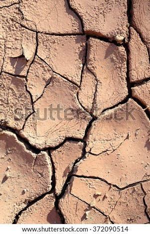 clay cracked by the lack of rain, Elche, Spain