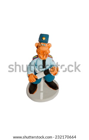 Clay figurine fun filled mustachioed cop with a stick on the road top view isolated on white background - stock photo
